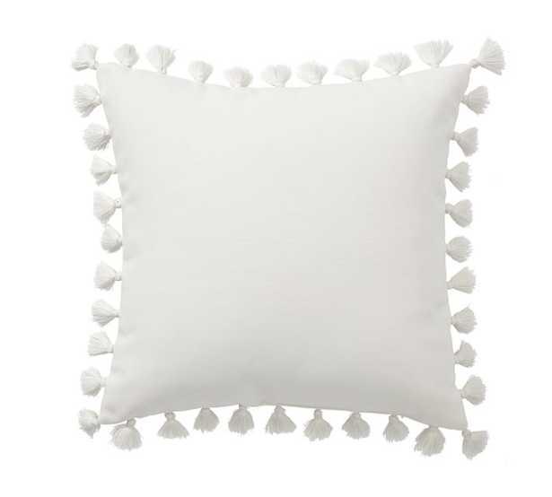 "Tassle Trim Indoor Outdoor Pillow, 18 x 18"", Natural - Pottery Barn"