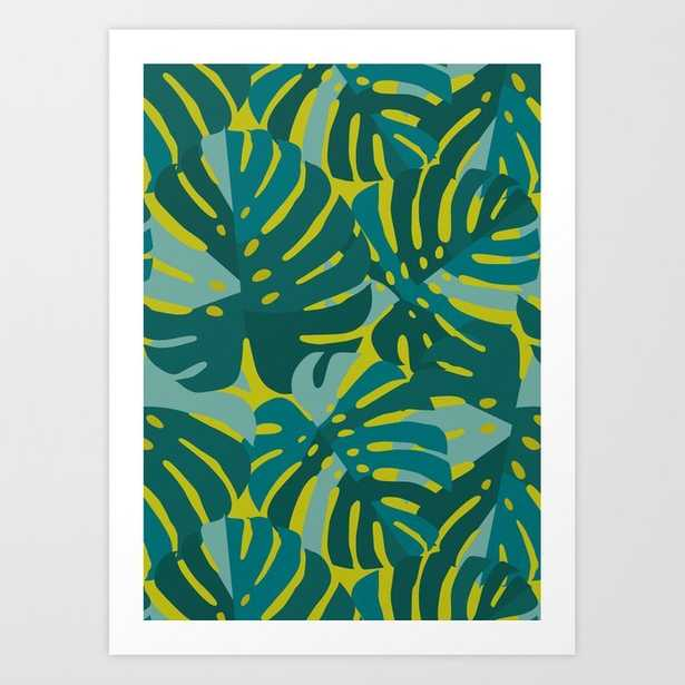 6 Monstera Leaves in Teal Art Print - Society6