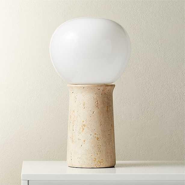 FIN TRAVERTINE TABLE LAMP - CB2