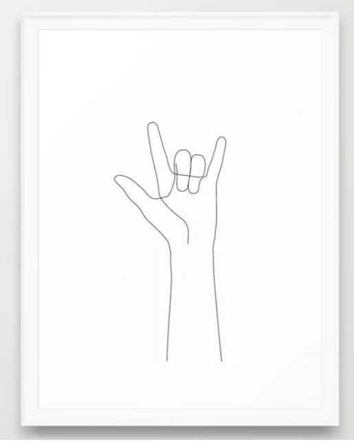 "Love Hand Gesture Framed Art Print - Scoop White - 20"" X 26"" - Society6"