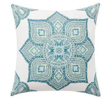 "Outdoor Wilder Medallion Pillow, 22"", Blue Multi - Pottery Barn"
