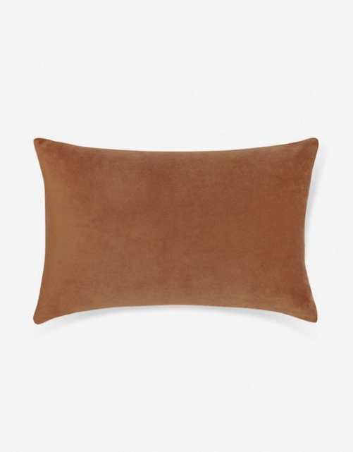 Charlotte Velvet Lumbar Pillow, Burnt Orange - Lulu and Georgia