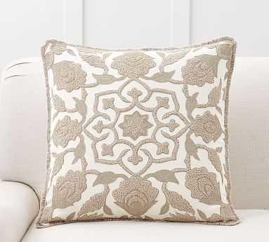 """Lovisa Medallion Pillow Cover, 22"""", Neutral Multi - Pottery Barn"""