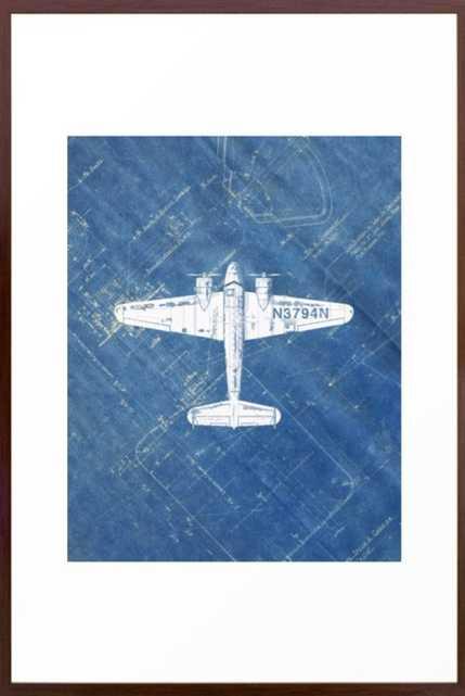 Industrial Art Print Airplane Art Print Blueprint Artwork Modern Art Living Room Decor Blue & White Framed Art Print - Society6