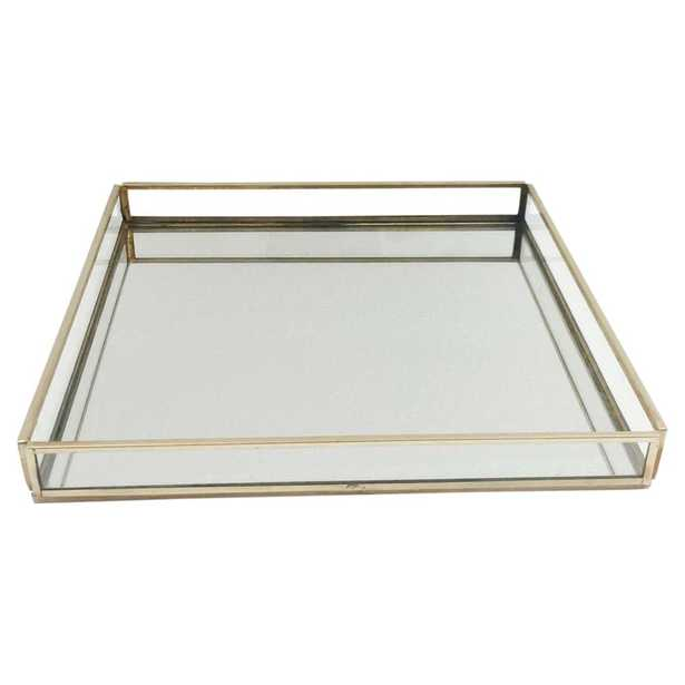 Lucy Industrial Loft Gold Edges Mirrored Glass Square Tray - Kathy Kuo Home