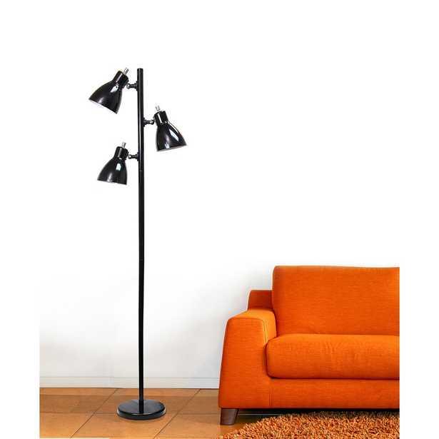 Simple Designs 63.75 in. Metal 3-Light Tree Black Floor Lamp - Home Depot