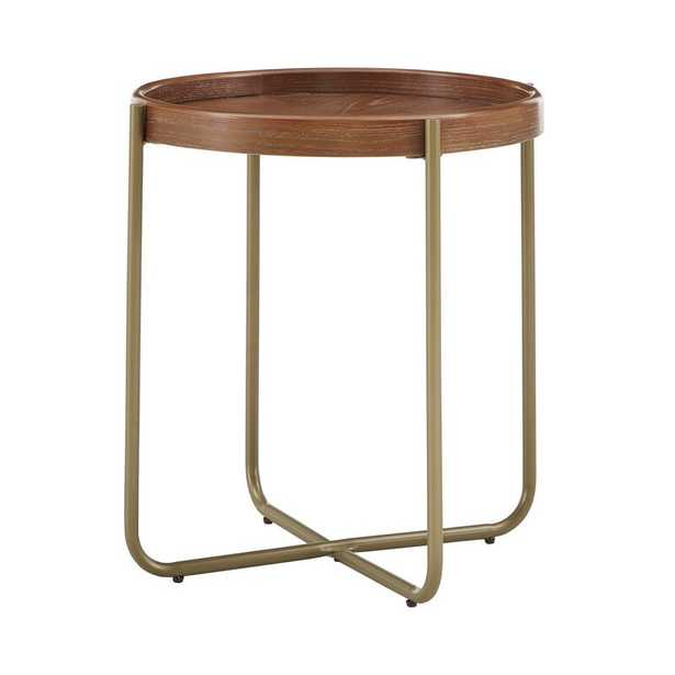 Gold Finish Powder Coat Metal & Wood End Table - Wayfair