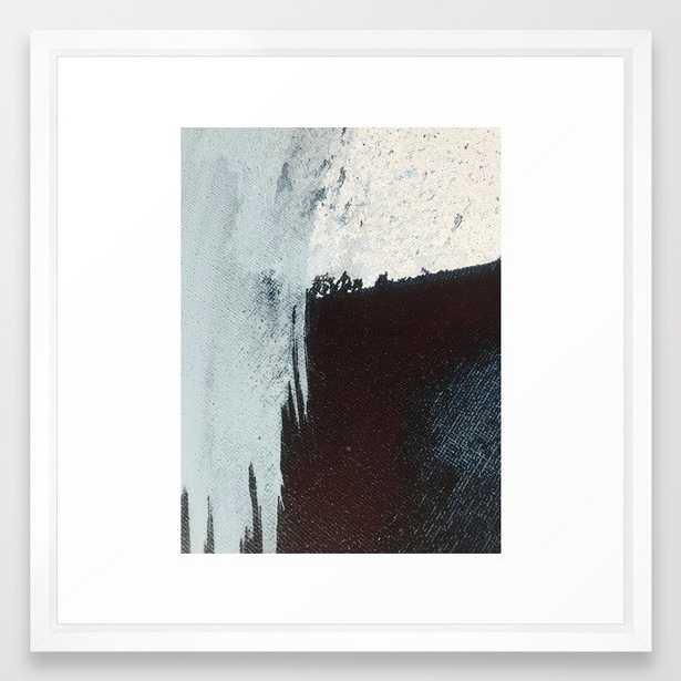 Like A Gentle Hurricane [3]: A Minimal, Abstract Piece In Blues And White By Alyssa Hamilton Art Framed Art Print by Alyssa Hamilton Art - Scoop Black - MEDIUM (Gallery)-22x22 - Society6