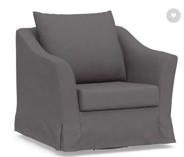 SoMa Brady Slope Arm Slipcovered Swivel Armchair, Polyester Wrapped Cushions, Washed Canvas Graphite - Pottery Barn