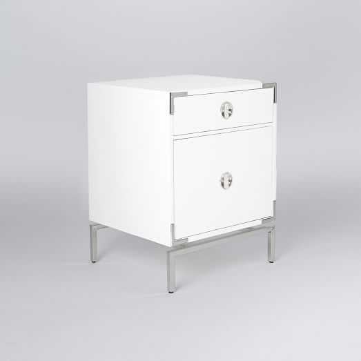 Malone Campaign Storage Nightstand, White Lacquer - West Elm