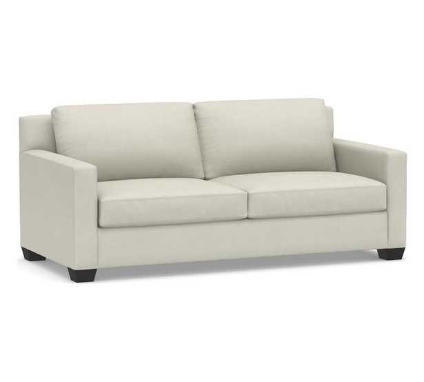 """York Square Arm Upholstered Sofa 80.5"""", Down Blend Wrapped Cushions, Premium Performance Basketweave Pebble - Pottery Barn"""