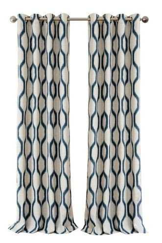Renzo Blackout Room Darkening Grommet 95 in. Linen Window Curtain Drape Panel in Indigo - Home Depot