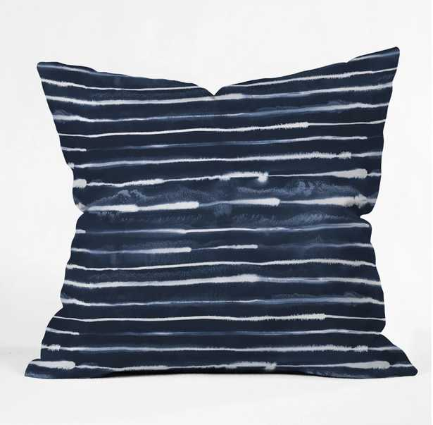 NAVY INK STRIPES Throw Pillow 18'' with insert - Wander Print Co.