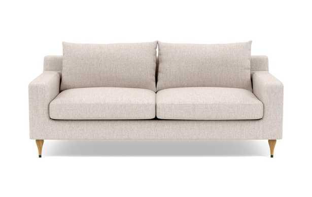 "Sloan  Fabric Sofa-Wheat; 91""; 2 Cushions; Natural Oak with Antique Cap; Standard Down Blend - Interior Define"