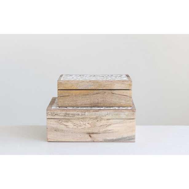 Ray 2 Piece Handcarved Mango Wood Boxes Set - Wayfair