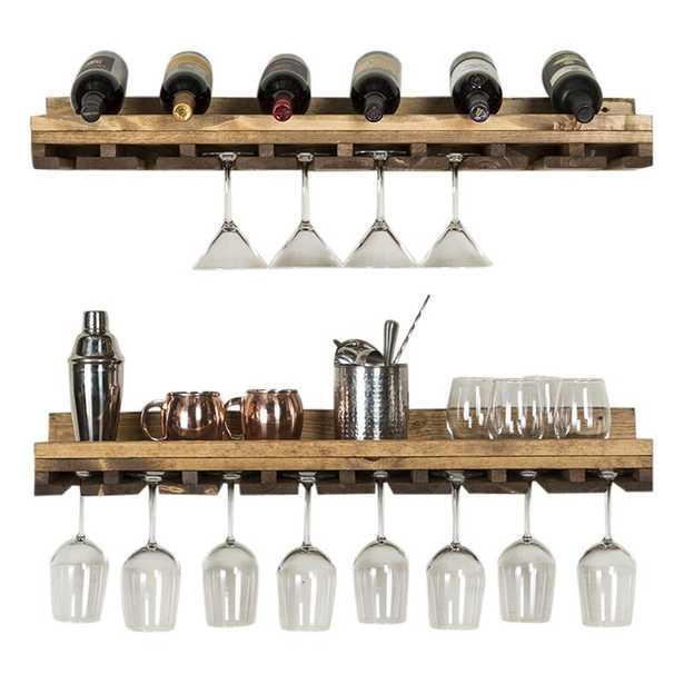 Bernardo Rustic Luxe Tiered Wall Mounted Wine Glass Rack - Wayfair
