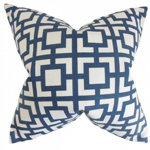 """Callas Geometric Pillow Navy, 22"""" x 22"""", Down Insert - Linen & Seam"""