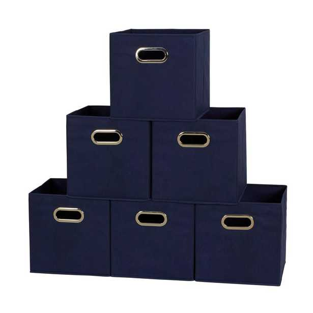 11 in. x 11 in. x 11 in. Navy Fabric Collapsible Cube Storage Bin - Home Depot