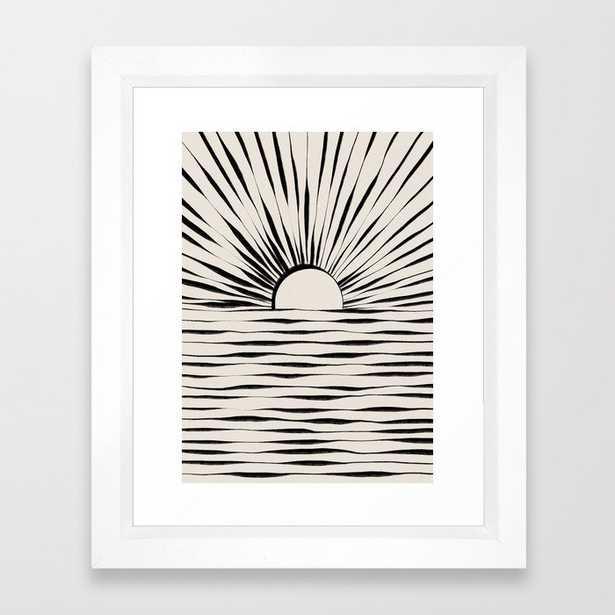 Minimal Sunrise / Sunset Framed Art Print -10x12 - vector white frame - Society6