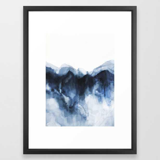 "Abstract Indigo Mountains Framed Art Print- 20"" X 26"" - Vector Black - Society6"