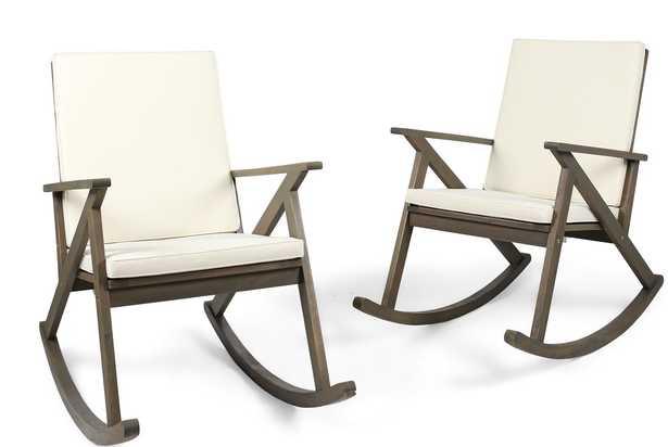 Ossu Outdoor Rocking Chair with Cushions (Set of 2) - Wayfair