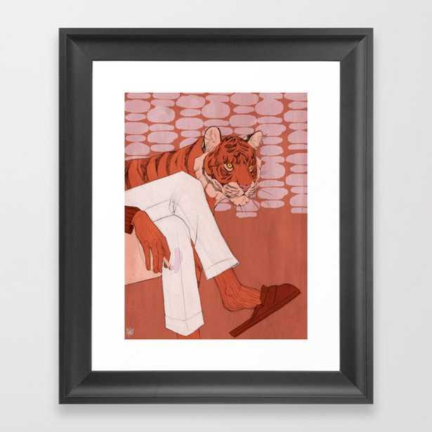Tiger in Smoke (Burgundy) Framed Art Print - Society6