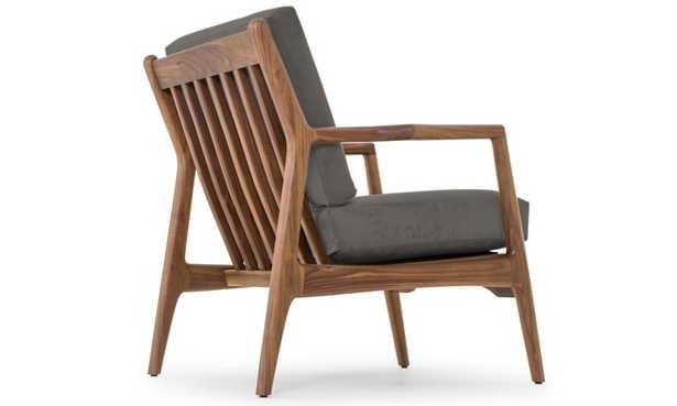 Gray Collins Mid Century Modern Leather Chair - Cartier Wolf - Walnut - Joybird