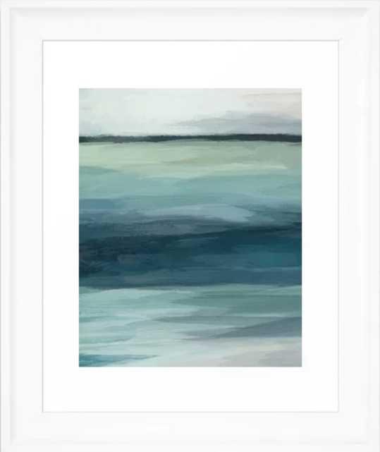 Seafoam Green Mint Navy Blue Abstract Ocean - Vector Black - Society6