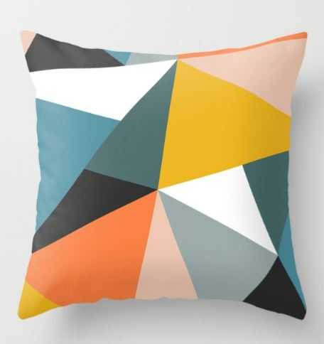 """Modern Geometric 36 Throw Pillow - 18"""" x 18"""" Cover with Insert - Society6"""