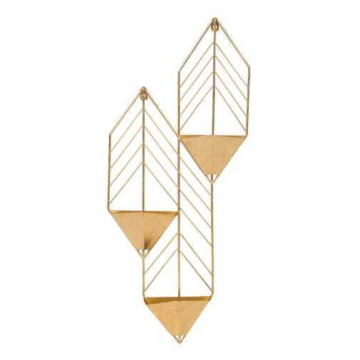 Tain Metal Wall Planter- Gold - Wayfair