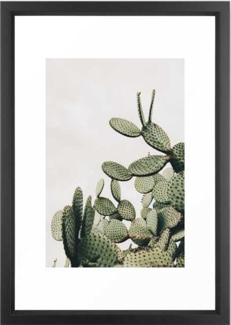 """Cactus on Blue Sky Framed Art Print 15"""" X 21"""" - Society6"""
