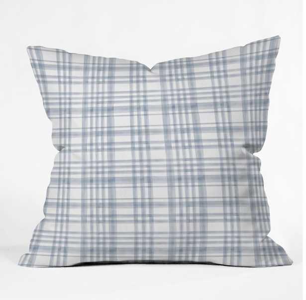 WINTER WATERCOLOR PLAID BLUE Throw Pillow - Wander Print Co.