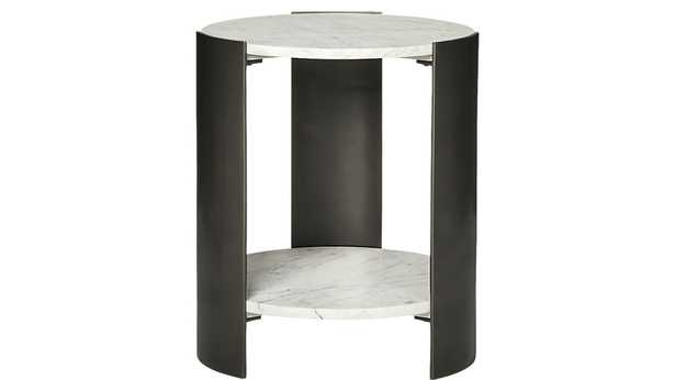 BERET MARBLE 2-TIER SIDE TABLE - CB2