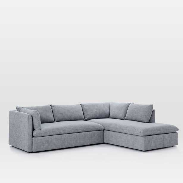Shelter Sectional Set 06: Left Arm Sleeper Sofa, Right Arm Storage Chaise, Poly, Yarn Dyed Linen Weave, Shelter Blue - West Elm