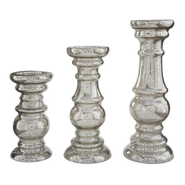 3 Piece Glass Candlestick Set - Wayfair