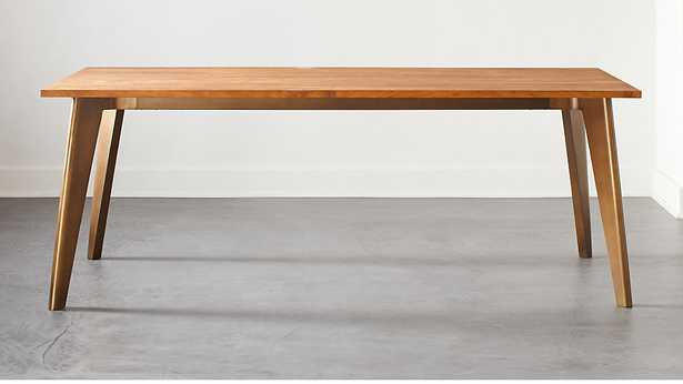 HARPER BRASS DINING TABLE WITH WOOD TOP - CB2