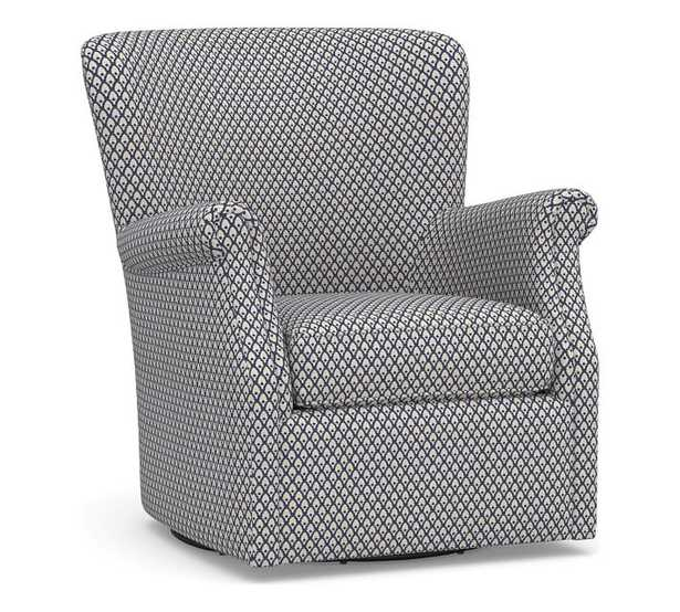 SoMa Minna Upholstered Swivel Armchair, Polyester Wrapped Cushions, Kendall Print Navy - Pottery Barn
