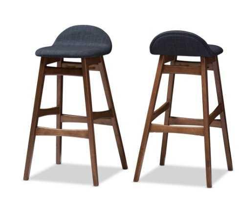 Baxton Studio Bloom Mid-century Retro Modern Scandinavian Style Upholstered Walnut Wood Finishing 30-Inches Bar Stool (Set of 2) - Lark Interiors