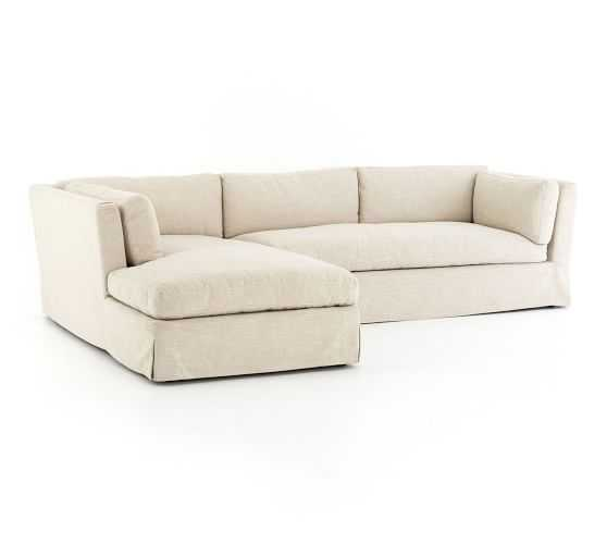 Dawn Slipcovered Right Arm Sofa with Left Chaise Sectional - Pottery Barn