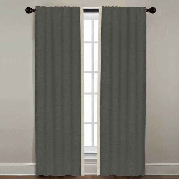 """Linen Border Drapery Single Panel, Quarry with Natural, 84"""" - Havenly Essentials"""
