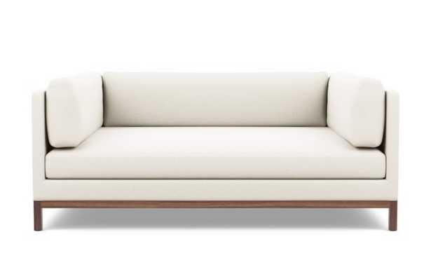 Jasper Long Two-Arm Sofa, Ivory, Walnut Base - Interior Define