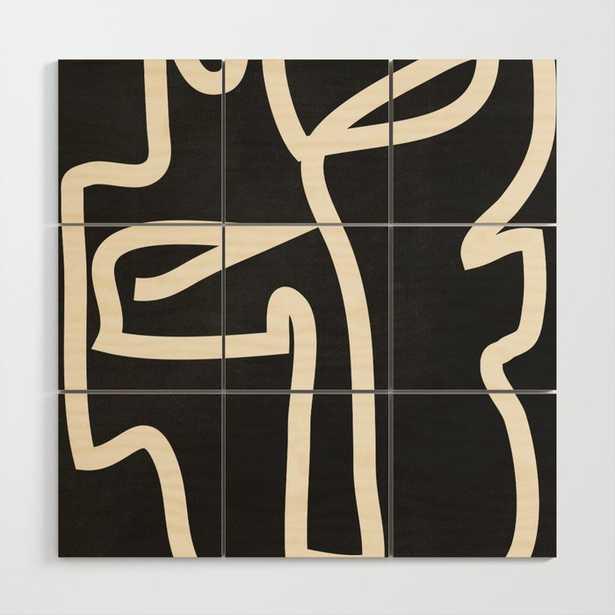 Abstract line art / Face Wood Wall Art - Society6