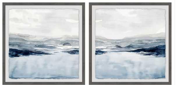'Faded Horizon III Diptych' 2 Piece Framed Watercolor Painting Print Set - Wayfair