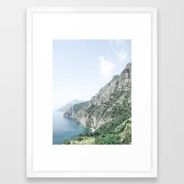 Summer Italian Coast Framed Art Print, vector white - Society6