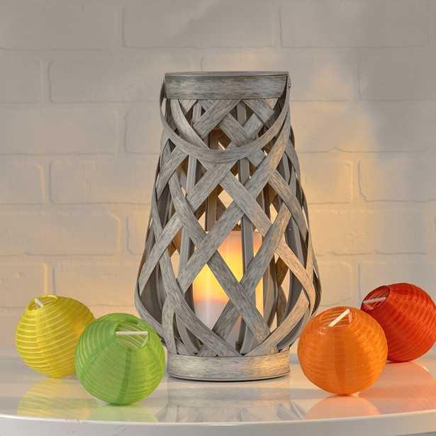 "10"""" Basketweave Gray Battery Powered LED Outdoor Lantern - Wayfair"