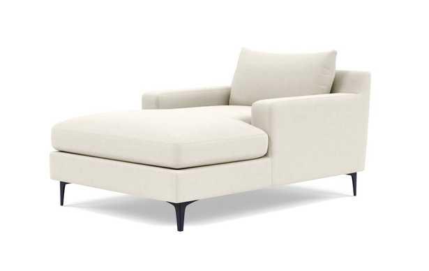 Sloan Chaise - Chalk Heathered Weave, Matte Black Leg - Interior Define