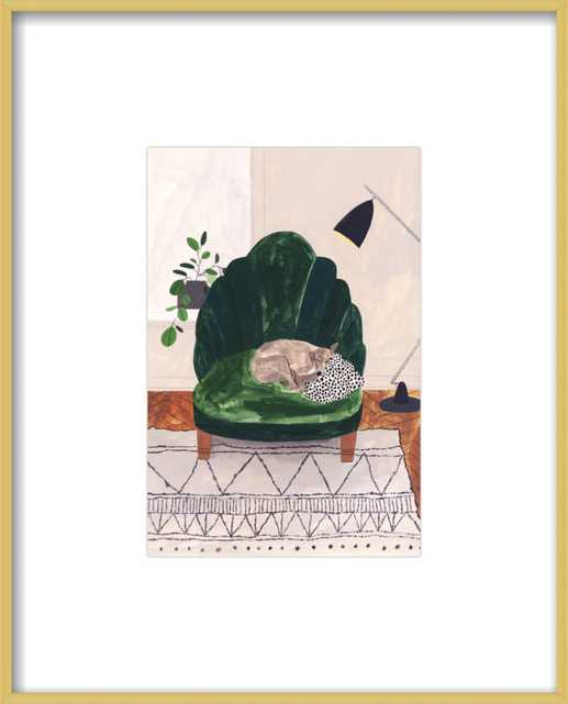 """Rainy Day Interior Illustration, 8x11"""" Frosted Gold Metal Frame - Artfully Walls"""