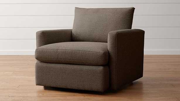 Lounge II Petite 360 Swivel Chair, Taft Truffle - Crate and Barrel