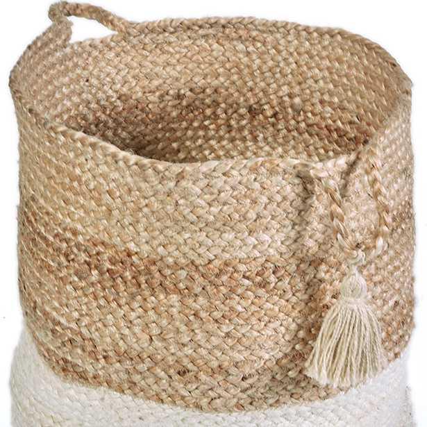 Natural Jute Decorative Storage Basket, Brown - 19'' - Home Depot