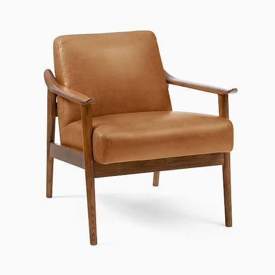 Mid-Century Show Wood Chair, Poly, Vegan Leather, Saddle, Pecan - West Elm